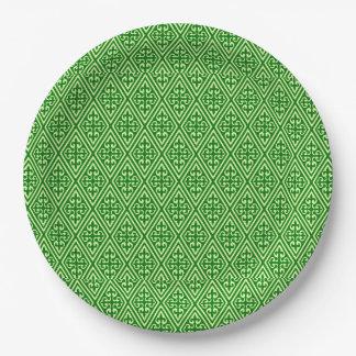 Medieval Damask Diamonds, dark pine green 9 Inch Paper Plate