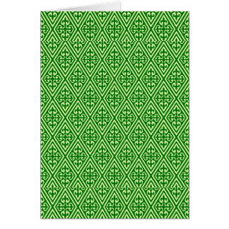 Medieval Damask Diamonds, dark pine green Card
