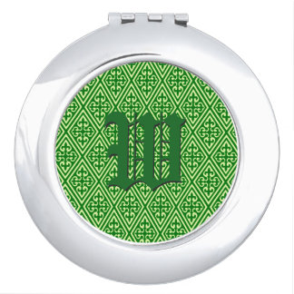 Medieval Damask Diamonds, dark pine green Compact Mirrors