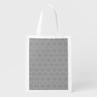 Medieval Damask Diamonds, silver grey Reusable Grocery Bag