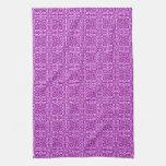 Medieval Damask Fleur-de-lis, amethyst purple Kitchen Towels