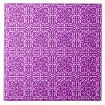 Medieval Damask Fleur-de-lis, amethyst purple Ceramic Tile