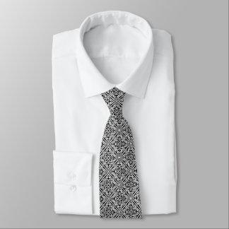 Medieval Damask Fleur-de-lis, black and white Tie