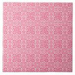 Medieval Damask Fleur-de-lis, coral pink & white Tiles