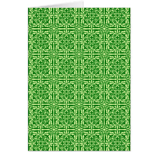 Medieval Damask Fleur-de-lis, dark pine green Card
