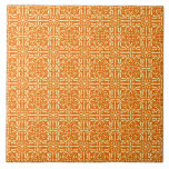 Medieval Damask Fleur-de-lis, mandarin orange Ceramic Tiles