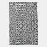 Medieval Damask pattern, black and white Kitchen Towels