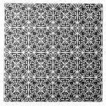 Medieval Damask pattern, black and white Tile