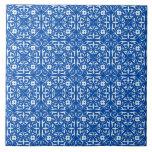 Medieval Damask pattern, cobalt blue Ceramic Tile