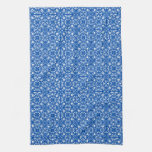 Medieval Damask pattern, cobalt blue Towel