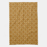 Medieval Damask pattern, copper and cream Kitchen Towels