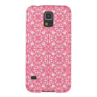 Medieval Damask pattern, coral pink & white Case For Galaxy S5