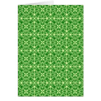 Medieval Damask pattern, dark pine green Card