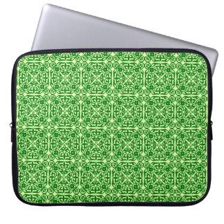 Medieval Damask pattern, dark pine green Laptop Computer Sleeves