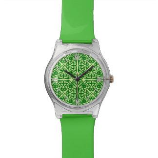 Medieval Damask pattern, dark pine green Watch