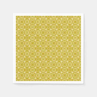 Medieval Damask pattern, mustard gold Paper Napkin