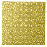 Medieval Damask pattern, mustard gold Tiles