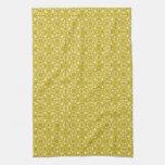 Medieval Damask pattern, mustard gold Towel