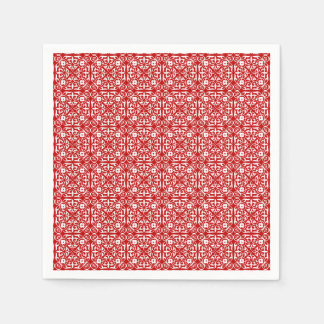 Medieval Damask pattern, red and white Napkin