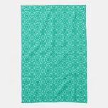 Medieval Damask pattern, turquoise and aqua Kitchen Towels