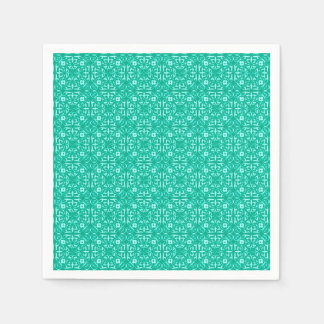 Medieval Damask pattern turquoise and aqua Paper Napkins