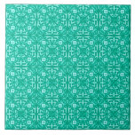 Medieval Damask pattern, turquoise and aqua Tile