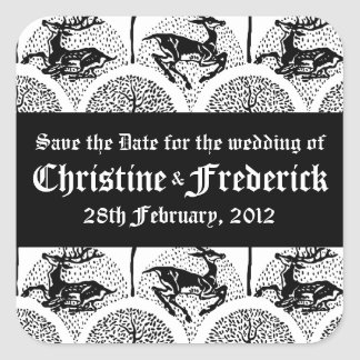 Medieval Deer and Trees, save the date stickers