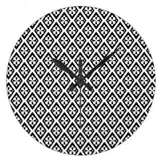 Medieval diamonds - black and white wallclock