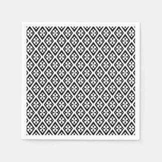 Medieval diamonds - black and white paper napkin