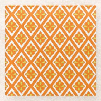 Medieval diamonds - mandarin orange and white glass coaster