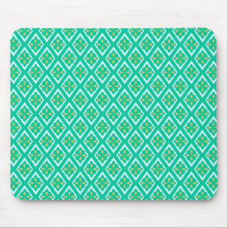 Medieval diamonds - teal green and aqua mouse pad