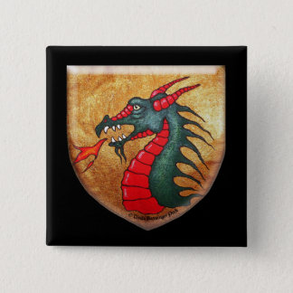 Medieval Dragon Gold Shield Pinback Button