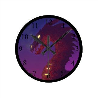Medieval Dragon Round Clock