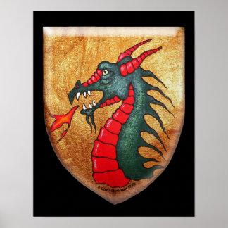 Medieval Dragon Shield on Black Poster