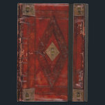 """Medieval Engraved Red Leather Book Cover Design<br><div class=""""desc"""">This ancient medieval book cover design has all the typical characteristics of age you would expect to see on a book cover dating back to the fifteenth century.</div>"""