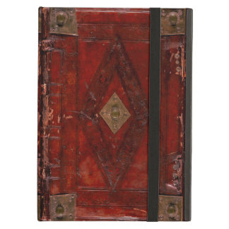Medieval Engraved Red Leather Book Cover Design iPad Air Cases
