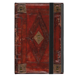 Medieval Engraved Red Leather Book Cover Design iPad Mini Case