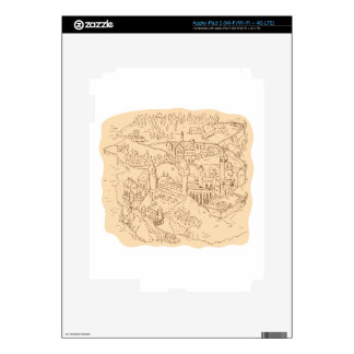 Medieval Fantasy Map Drawing iPad 3 Skins