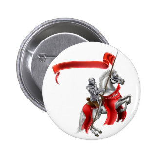 Medieval Flag Knight on Horse Pinback Button
