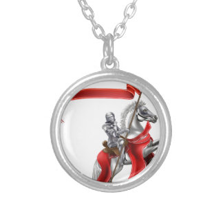 Medieval Flag Knight on Horse Round Pendant Necklace