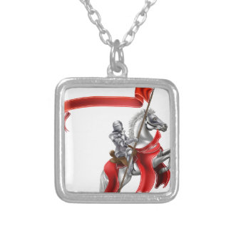 Medieval Flag Knight on Horse Square Pendant Necklace