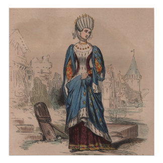Medieval French fashion noble lady costume Poster