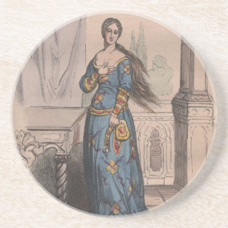 Medieval French fashion noble woman costume Drink Coasters