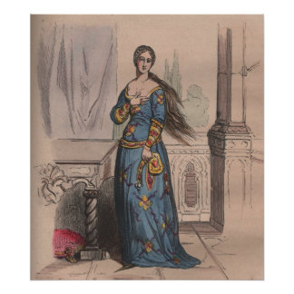 Medieval French fashion noble woman costume Poster