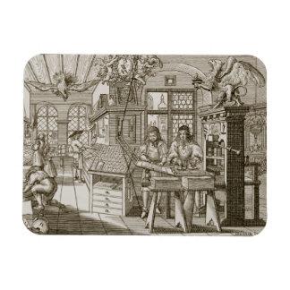 Medieval German printing press (engraving) Rectangular Photo Magnet