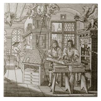 Medieval German printing press (engraving) Tile