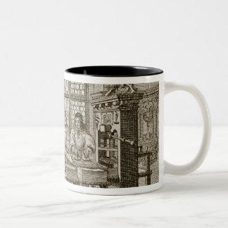 Medieval German printing press (engraving) Two-Tone Coffee Mug