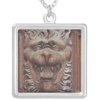 Medieval German Wood Carving WOLF Silver Plated Necklace