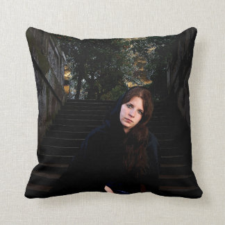 Medieval Girl on Stairs Pillow