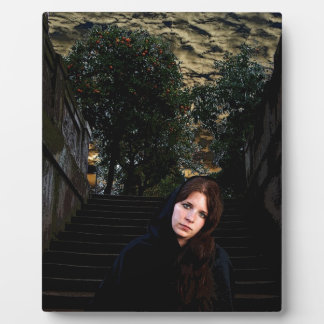 Medieval Girl on Stairs Display Plaque